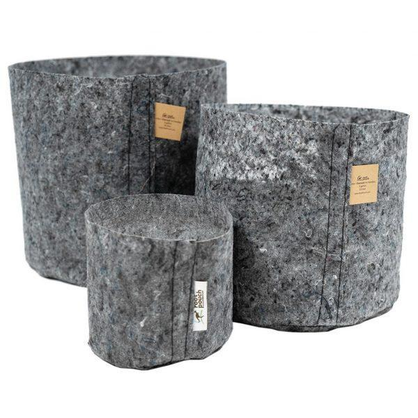 Root Pouches Grey Fabric Pot